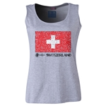 Switzerland Euro 2016 Women's Flag Scoopneck Tank (Grey)