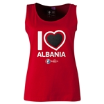 Albania Euro 2016 Women's Heart Scoopneck Tank (Red)