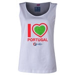 Portugal Euro 2016 Women's Heart Scoopneck Tank (White)