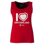 Switzerland Euro 2016 Women's Heart Scoopneck Tank (Red)