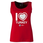 Turkey Euro 2016 Women's Heart Scoopneck Tank (Red)