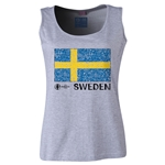 Sweden Euro 2016 Women's Flag Scoopneck Tank (Grey)