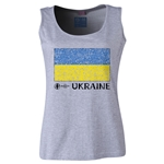Ukraine Euro 2016 Women's Flag Scoopneck Tank (Grey)