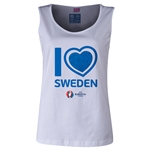 Sweden Euro 2016 Women's Heart Scoopneck Tank (White)