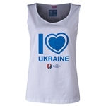 Ukraine Euro 2016 Women's Heart Scoopneck Tank (White)