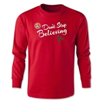 FC Santa Claus Don't Stop Believing Youth Long Sleeve T-Shirt (Red)