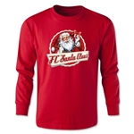 FC Santa Claus Animated Santa Youth Long Sleeve T-Shirt (Red)