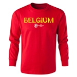 Belgium Euro 2016 Long Sleeve Youth Core T-Shirt (Red)