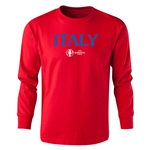 Italy Euro 2016 Long Sleeve Youth Core T-Shirt (Red)