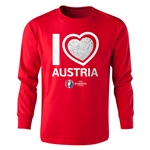 Austria Euro 2016 Long Sleeve Youth Heart T-Shirt (Red)