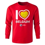 Belgium Euro 2016 Long Sleeve Youth Heart T-Shirt (Red)