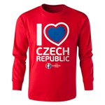 Czech Republic Euro 2016 Long Sleeve Youth Heart T-Shirt (Red)