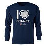 France Euro 2016 Long Sleeve Youth Heart T-Shirt (Navy)