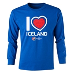 Iceland Euro 2016 Long Sleeve Youth Heart T-Shirt (Royal)