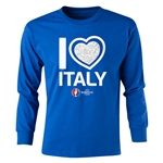 Italy Euro 2016 Long Sleeve Youth Heart T-Shirt (Royal)