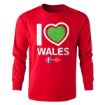 Wales Euro 2016 Long Sleeve Youth Heart T-Shirt (Red)