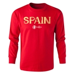 Spain Euro 2016 Long Sleeve Youth Core T-Shirt (Red)