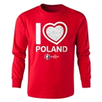 Poland Euro 2016 Long Sleeve Youth Heart T-Shirt (Red)