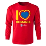 Romania Euro 2016 Long Sleeve Youth Heart T-Shirt (Red)