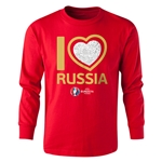 Russia Euro 2016 Long Sleeve Youth Heart T-Shirt (Red)