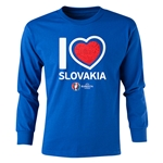 Slovakia Euro 2016 Long Sleeve Youth Heart T-Shirt (Royal)