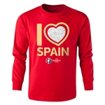 Spain Euro 2016 Long Sleeve Youth Heart T-Shirt (Red)