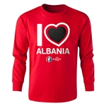 Albania Euro 2016 Long Sleeve Youth Heart T-Shirt (Red)