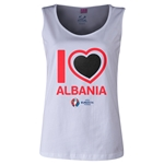 Albania Euro 2016 Long Sleeve Youth Heart T-Shirt (White)