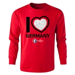 Germany Euro 2016 Long Sleeve Youth Heart T-Shirt (Red)