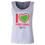 Portugal Euro 2016 Long Sleeve Youth Heart T-Shirt (White)