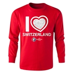 Switzerland Euro 2016 Long Sleeve Youth Heart T-Shirt (Red)