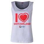 Switzerland Euro 2016 Long Sleeve Youth Heart T-Shirt (White)