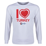 Turkey Euro 2016 Long Sleeve Youth Heart T-Shirt (White)