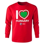 Hungary Euro 2016 Long Sleeve Youth Heart T-Shirt (Red)