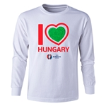 Hungary Euro 2016 Long Sleeve Youth Heart T-Shirt (White)