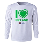Ireland Euro 2016 Long Sleeve Youth Heart T-Shirt (White)