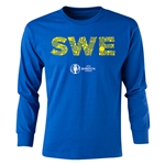 Sweden Euro 2016 Long Sleeve Youth Elements T-Shirt (Royal)
