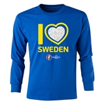 Sweden Euro 2016 Long Sleeve Youth Heart T-Shirt (Royal)