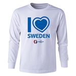 Sweden Euro 2016 Long Sleeve Youth Heart T-Shirt (White)