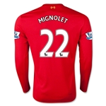 Liverpool 15/16 MIGNOLET LS Home Soccer Jersey