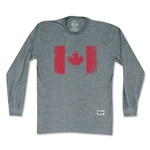 Objectivo Canada Vintage Flag Soccer Long Sleeve T-Shirt (Gray)