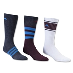 adidas Cushioned Assorted Color 3 Pack Crew Sock (Maroon)