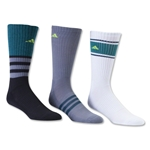 adidas Cushioned Assorted Color 3 Pack Crew Sock (Gray/Green)