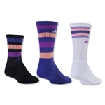 adidas Women's Retro II 3 Pack Crew Sock (Black)