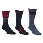 adidas Youth Cushioned Assorted Color 3-Pack Crew Sock (Blk/Red)