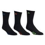 adidas Youth Graphic 6-Pack Crew Sock (Black/Royal)