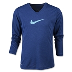 Nike Legend V-Neck Swoosh Fill Youth LS T-Shirt (Navy)