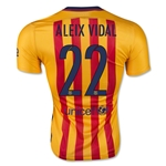 Barcelona 15/16 ALEIX VIDAL Authentic Away Soccer Jersey