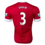 Manchester United 15/16 SHAW Authentic Home Soccer Jersey
