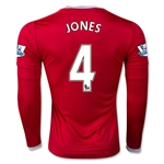 Manchester United 15/16 JONES LS Home Soccer Jersey
